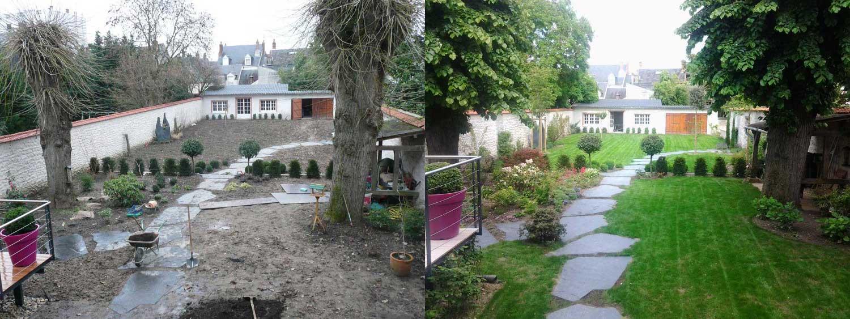 amenagement jardin avant apres. Black Bedroom Furniture Sets. Home Design Ideas