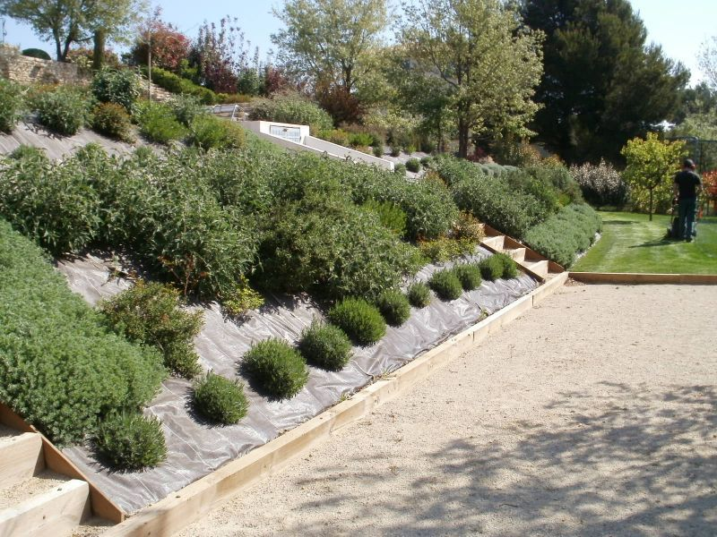 Amenagement jardin avec butte - Jardin en pente amenagement ...