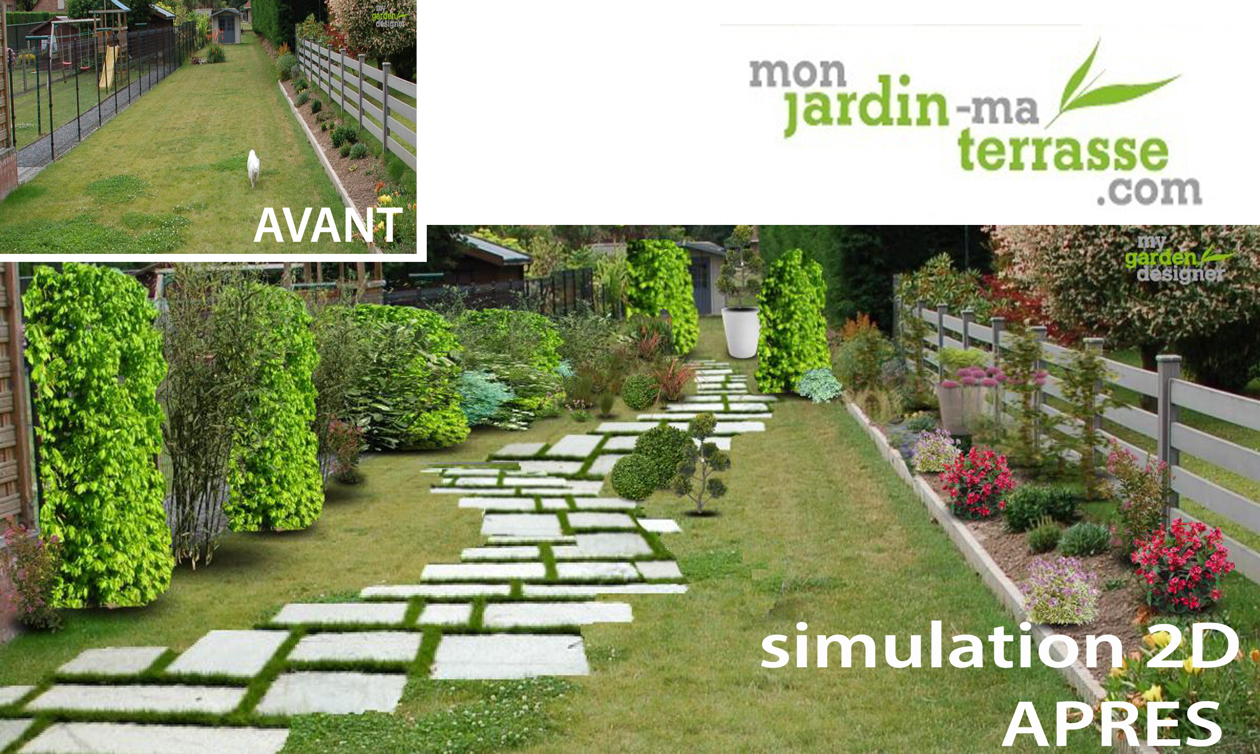 amenagement jardin en long