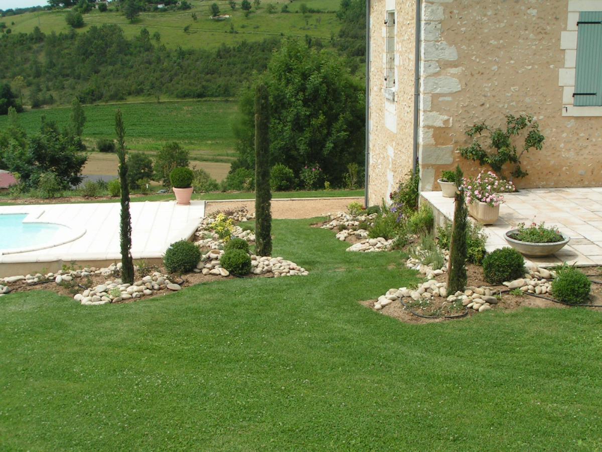 amenagement jardin terrain plat