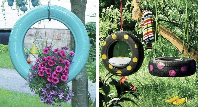 decoration exterieur avec des pneus