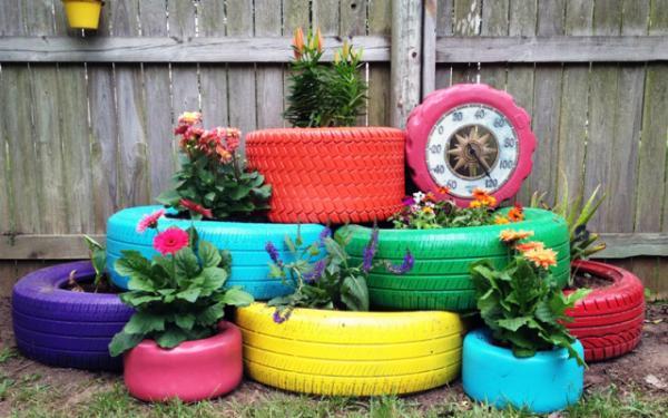 decoration jardin avec pneu
