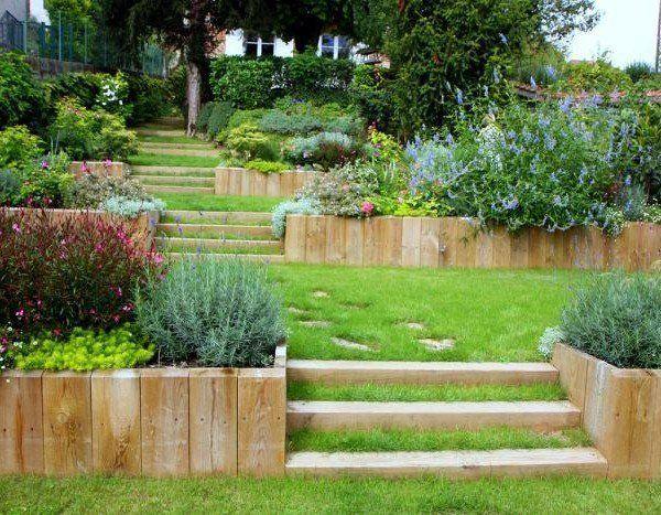decoration jardin en pente