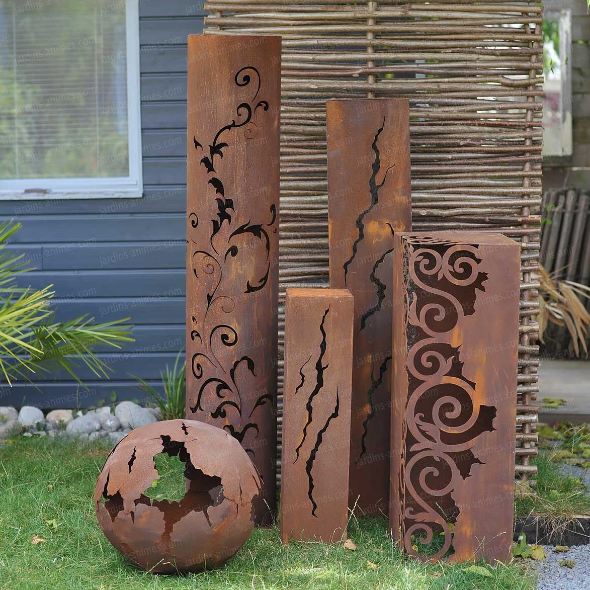decoration jardin metal rouille