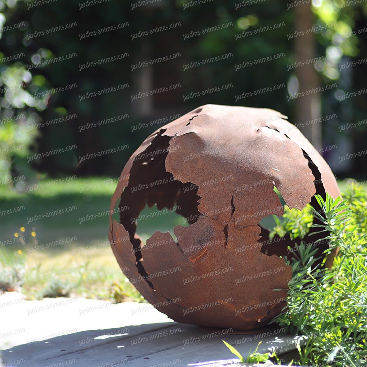 decoration jardin metal rouille
