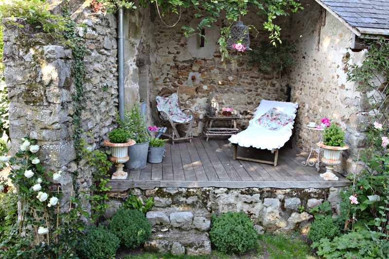 decoration jardin shabby chic
