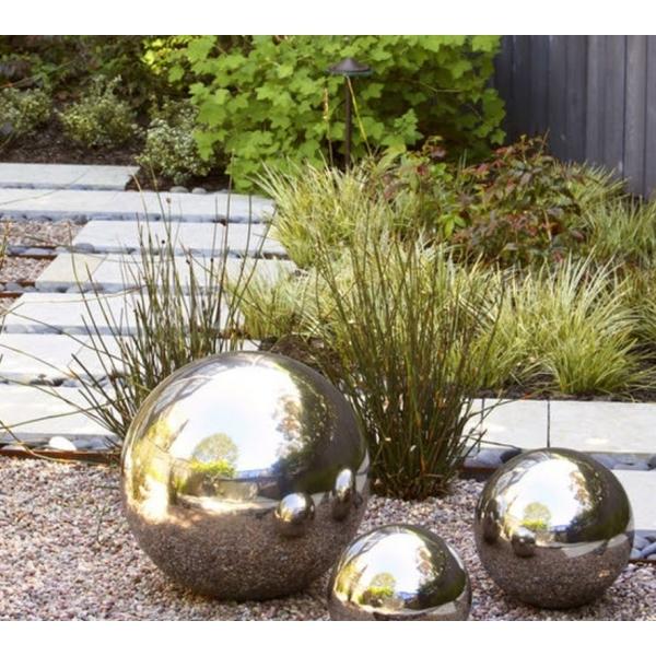 decoration jardin spirale boule pierre metal