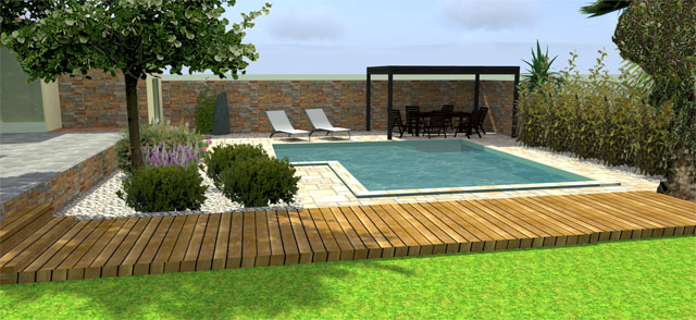 idee jardin avec piscine. Black Bedroom Furniture Sets. Home Design Ideas